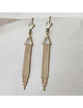 Gold Art Deco Earrings, Antiqued Gold, Deco Wedding, Choose Surgical, Plated Or Gold Filled Hooks, Studs, Lever Backs Or Screw Clips by Etsy