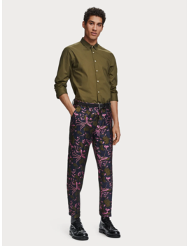 Satin Jacquard Trousers <Br> Loose Tapered Fit by Scotch&Soda
