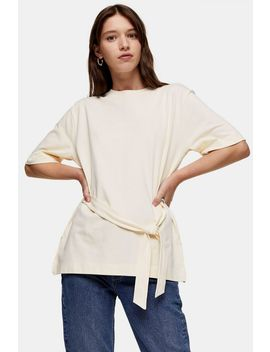 Considered Cream Belted Top With Organic Cotton by Topshop