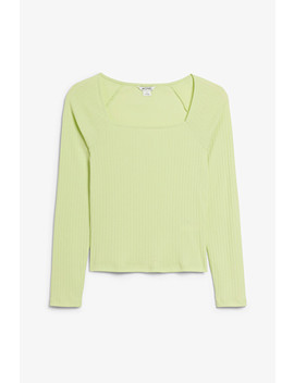 Ribbed Square Neck Top by Monki
