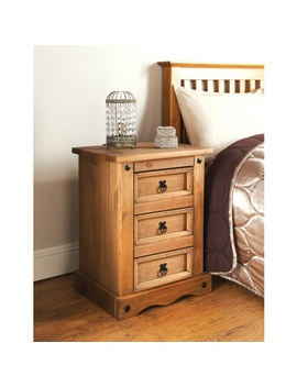 Rio 3 Drawer Bedside Table by B&M
