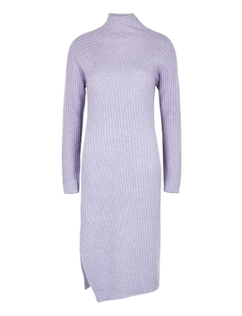 Meggie Lilac Ribbed Knit Midi Dress by By Malene Birger