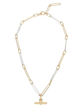 Two Tone Chain Link Bar Pendant Necklace by Allsaints