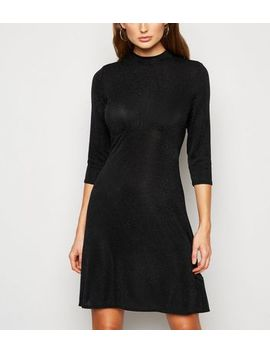 Black Glitter Ruched Front Mini Dress by New Look
