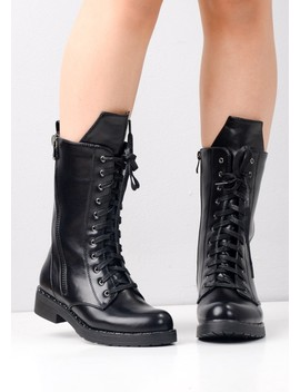 Block Heel Lace Up Studded Mid Calf Biker Boots Black by Lily Lulu Fashion