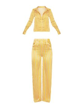 Mustard & White Stripe Satin Long Leg Pj Set by Prettylittlething