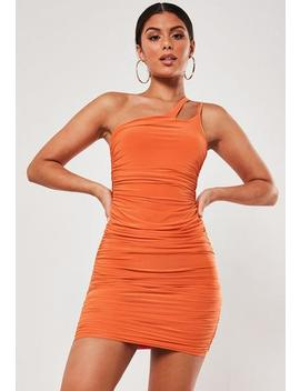 Orange Slinky Ruched Asymmetric Strap Mini Dress by Missguided
