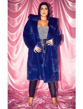 Plus Blue Longline Faux Fur Hooded Coat by Prettylittlething