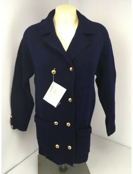 Hand Loomed Vintage Import Virgin Wool Women's Sweater Blue Gold Buttons Nwt S/M by Hand Full Fashioned