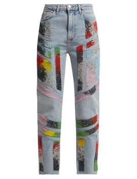 Bead Embellished Straight Leg Jeans by Germanier
