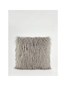 Light Grey Mongolian Faux Fur Cushion by Asda