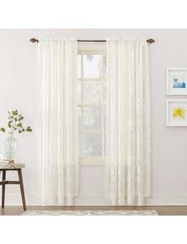 "No. 918 Alison Rod Pocket Lace Window Curtain Panel   58"" W X 95"" L   Ivory by No. 918"