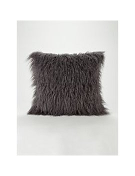 Charcoal Mongolian Faux Fur Cushion by Asda