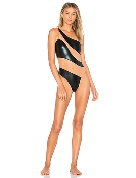 Snake Mesh One Piece In Black Foil by Norma Kamali