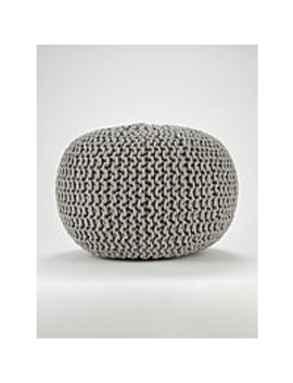 Light Grey Knitted Pouffe by Asda