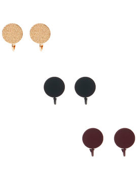 Gold Rubberised Clip On Stud Earrings   3 Pack by Claire's