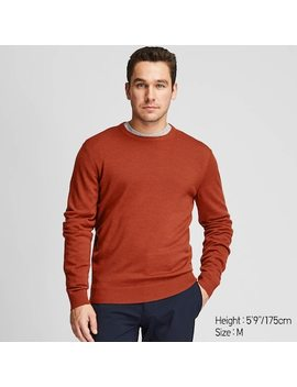 Men Extra Fine Merino Wool Crew Neck Jumper (41) by Uniqlo