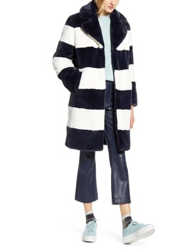 X Atlantic Pacific Stripe Faux Fur Coat by Halogen®