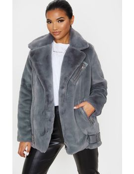 Grey Faux Fur Aviator Jacket  by Prettylittlething