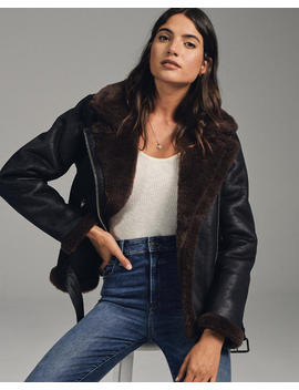 Faux Shearling Moto Jacket by Abercrombie & Fitch