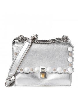 Fendi Laminated Calfskin Studded Small Kan I Shoulder Bag Silver by Fendi