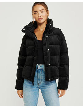 Mini Velvet Puffer Jacket by Abercrombie & Fitch