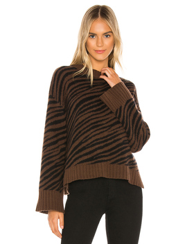 Cashmere Zebra Jacquard Crewneck Sweater by White + Warren