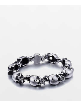 Half Hearted Skull Head Stainless Steel Bracelet by Half Hearted Llc