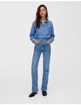 Jeans De Cintura Subida Com Aberturas by Pull & Bear