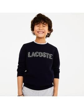 Sweater De Lã E Algodão Com Lettering Lacoste E Crocodilos Bordados Para Menino by Lacoste
