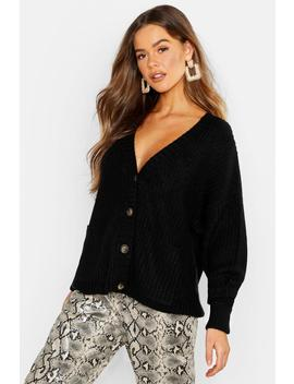 Fisherman Knit Button Through Cardigan by Boohoo