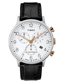 Waterbury Chronograph Leather Strap Watch, 40mm by Timex®