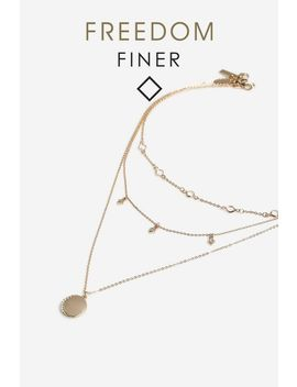 **Finer Moon Stone Multirow Necklace by Topshop