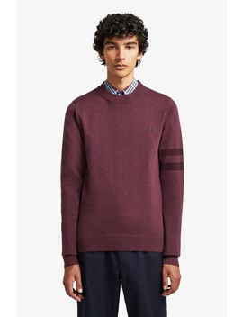 Broken Tipped Crew Neck Jumper by Fred Perry