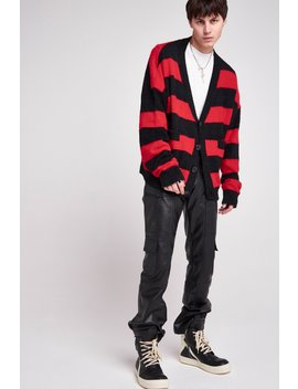 Red & Black Oversized Striped Cardigan by Jaded London