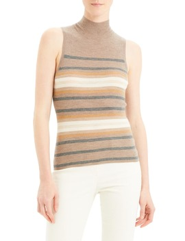 Regal Stripe Ribbed Sleeveless Cashmere Sweater by Theory