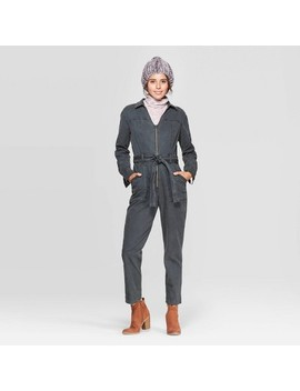 Women's Long Sleeve Tie Front Jumpsuit   Universal Thread™ Pine by Universal Thread