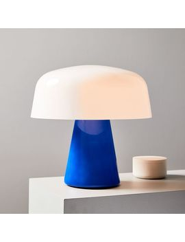 Bella Table Lamp, Small, Green Glass, Milk Glass by West Elm