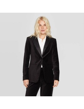 Women's Long Sleeve Button Front Tuxedo Jacket   A New Day™ Black by A New Day
