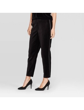 Women's Mid Rise Velvet Slim Ankle Pants   A New Day™ Black by A New Day