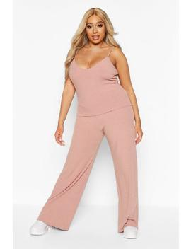 Plus Soft Rib Cami + Wide Leg Trouser Co Ord by Boohoo