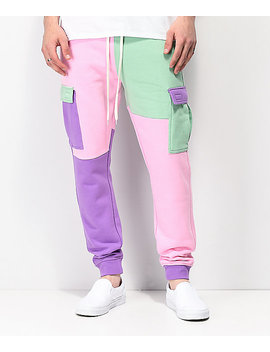 Empyre Mork Colorblock Green, Pink & Purple Jogger Sweatpants by Empyre