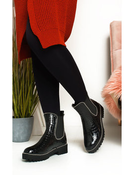 Kirstee Croc Print Patent Ankle Boots In Black C by Ikrush