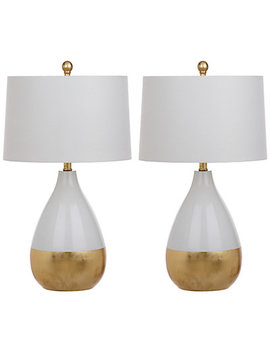 Safavieh Set Of 2 Kingship 24in White And Gold Table Lamps by Safavieh