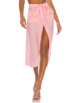 Piped Luxe Front Slit Skirt by Jonathan Simkhai