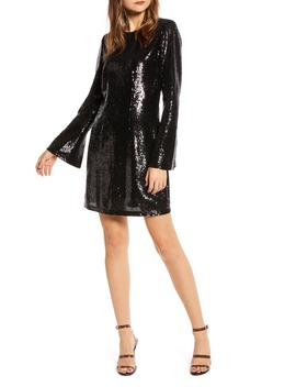 Long Sleeve Sequin Minidress by Something Navy