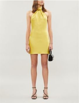 Knotted Halter Neck Satin Mini Dress by Topshop