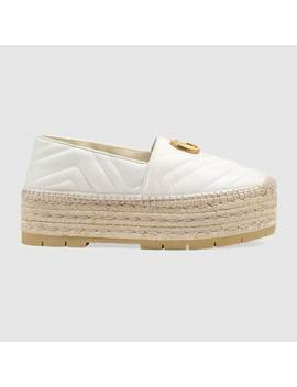 Chevron Leather Espadrille With DoubleG by Gucci
