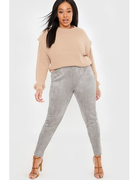 Curve Lorna Luxe Grey 'contour' Suede Look Leggings by In The Style