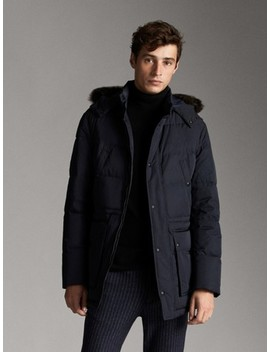 Navy Down Jacket With Hood by Massimo Dutti